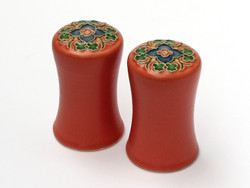 One Acre Ceramics -Red Trellis Salt & Pepper Shakers