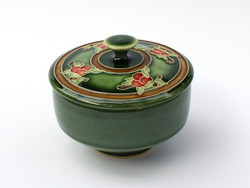 One Acre Ceramics - Fruit Tree Covered Tea Bowl in Green