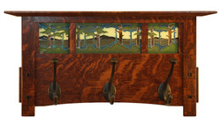 Craftsman Coat Rack with 3 Motawi Tiles. Handmade by Schlabaugh & Sons in the USA.