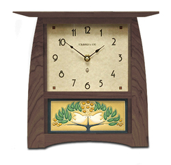 "Schlabaugh Arts and CraftsTile Clock in Walnut with Motawi Love Birds Tile in Green Oak - Large 8"" x 8"" Face"