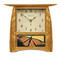 Schlabaugh Arts and Crafts Tile Clock in Nut Brown Oak with Motawi Monarch Tile in Golden