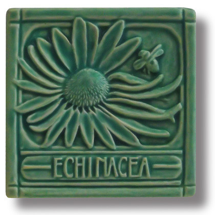 Echinacea Tile in Leaf Green from Whistling Frog Tile Co.