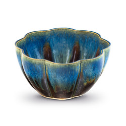 Blanket Creek Pottery Medium Flower Bowl in Amber Blue