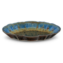 Blanket Creek Pottery Scalloped Platter in Amber Blue