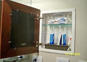 We Have Two Concealed Cabinets In Our... Main Bathroom So I Use One For A Medicine  Cabinet And I Put Two Outlets ...