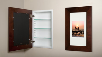 Espresso (14x24) concealed medicine cabinet with picture frame door, display your own art instead of a mirror