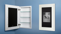 White (14 x 24) concealed medicine cabinet with picture frame door, display your own art instead of a mirror - side-by-side