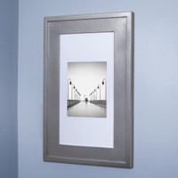 Silver (14x24) concealed medicine cabinet with picture frame door, display your own art instead of a mirror