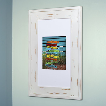 Distressed White (14x24) concealed medicine cabinet with picture frame door, display your own art instead of a mirror