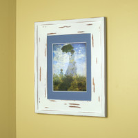 "Large Distressed White Recessed Picture Frame Medicine Cabinet (14"" x 18"")"