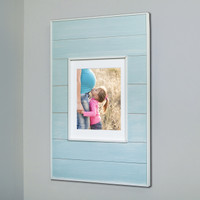 "Extra Large Seabreeze Blue Recessed Picture Frame Medicine Cabinet (14"" x 24"")"