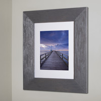 "Regular Rustic Gray Recessed Picture Frame Medicine Cabinet (13 1/8"" x 16"")"
