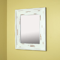 13x16 Regular Distressed White Mirrored Medicine Cabinet by Fox Hollow Furnishings