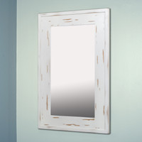 14x24 Distressed White Mirrored Medicine Cabinet by Fox Hollow Furnishings