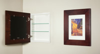 Espresso (13 1/8 x 16) concealed medicine cabinet with picture frame door, display your own art instead of a mirror