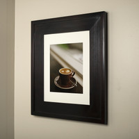 13x16 dark brown recessed medicine cabinet picture frame door