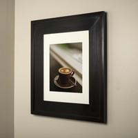 13x16 dark brown recessed medicine cabinet picture frame door