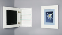 White (13 1/8 x 16) concealed medicine cabinet with picture frame door, display your own art instead of a mirror