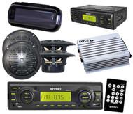 "200W Outdoor Radio USB AUX Input MMC 4 x 4"" Black Speakers Amp Cover Remote Kit"