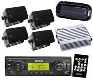 Enrock EKMRB11 InDash Boat Marine MP3 USB SD Receiver 4 Black Box Speakers + Amp