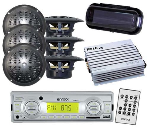 "200W EKMRS12 In Dash Marine MP3 USB SD AM FM Radio 6x 4"" Speakers Amp & Cover"