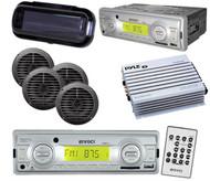 Enrock 200W In Dash Marine MP3 USB SD MMC AM FM Radio 4 Spkrs W/400W Amp & Cover