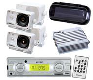 Enrock Marine Boat MP3 USB SD MMC Radio Player 4 Box Speakers W/4 Ch Amp+ Cover