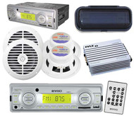 """Marine Outdoor Radio AUX USB Input 4 x 6.5"""" Round Speakers Cover Amp Remote Pkg"""