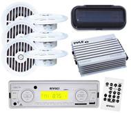 "Enrock Marine Boat USB AUX Radio Receiver w/Remote 6 x 5.25"" Flush Speakers+ Amp"