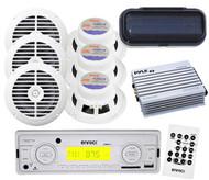 "EKMRW10 Boat Radio SD Card USB AUX w/6 x 6.5"" White Round Speakers Amp w/Cover"