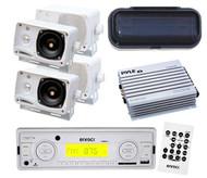 "White Enrock Marine Radio USB AUX In 4x 3.5"" Box Speakers Splash Cover & 4Ch Amp"