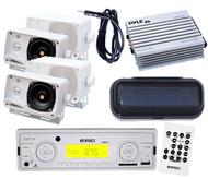 "200W Indash Marine Media Receiver 4 x 3.5"" Square Speakers Amp Antenna Cover Kit"