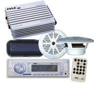 Pyle New Marine Yacht MP3 USB Aux WMA Radio Media Receiver Pair Speakers Amp Pkg