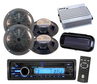 "New Sony Marine Radio AUX iPod Input Stereo Cover & 4 x 5.25"" Round Speakers Amp"