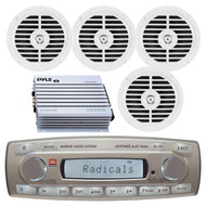 4 x 45 Watt JBL MR18.5 AM/FM Radio Waterproof Marine Stereo Receiver, PLMR67W Pyle 6 1/2'' Dual Cone Waterproof Stereo Speaker System (White), PLMRA400 Pyle 4 Channel 400 Watt Waterproof Marine White Amplifier