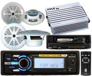 New 208W Sony Marine iPod MP3 Radio 2 Pairs of Speakers 400W Amp Wireless Remote