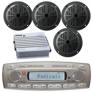 4 x 45 Watt JBL MR18.5 AM/FM Radio Waterproof Marine Stereo Receiver, Pyle PLMR51B 100 Watts 5.25'' 2 Way Marine Speakers, PLMRA400 Pyle 4 Channel 400 Watt Waterproof Marine White Amplifier