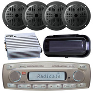 4 x 45 Watt JBL MR18.5 AM/FM Radio Waterproof Marine Stereo Receiver, Pyle PLMR51B 100 Watts 5.25'' 2 Way Marine Speakers, PLMRA400 Pyle 4 Channel 400 Watt Waterproof Marine White Amplifier, PLMRCB1 Pyle Water Resistant Radio Shield (Black)