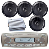 4 x 45 Watt JBL MR18.5 AM/FM Radio Waterproof Marine Stereo Receiver, PLMR67B Pyle 6 1/2'' Dual Cone Waterproof Stereo Speaker System (Black), PLMRA400 Pyle 4 Channel 400 Watt Waterproof Marine White Amplifier