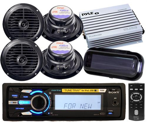 New Sony DSXMS60 Marine iPod MP3 Radio 4 Speakers 4 Channel Amp Stereo Cover