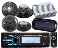 208W Sony Marine USB AUX iPod Receiver  4 Speakers 400Watt Amp Splashproof Cover