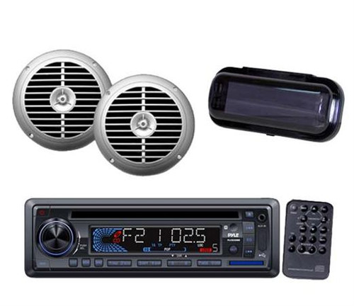 """Outdoor Marine Boat In dash CD MP3 AUX Radio + 2 6.5"""" Silver Speakers & Cover"""