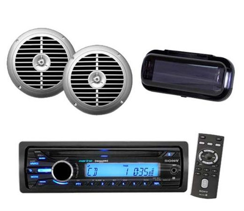 208 Watt Sony Marine Boat Yacht CD MP3 AUX Radio + 2 Silver Speakers And Cover