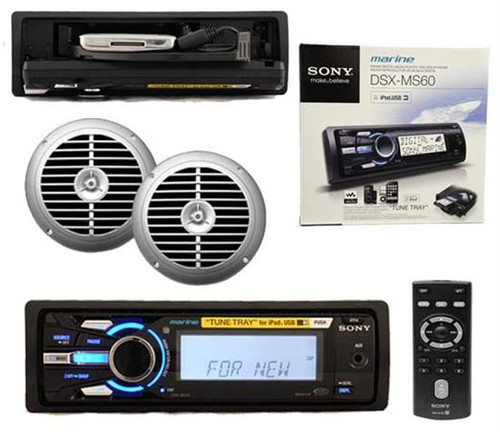 "Sony Marine DSXMS60 USB iPod iPhone Radio Receiver w/Remote 6.5"" Silver Speakers"