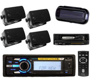 Sony New iPod Tray Boat Yacht Radio w/Remote & Splash Cover 4 Box Speakers Black
