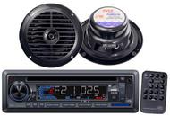 "New Marine Boat PLCD33MR CD SD USB MP3 AUX Radio w/6.5"" Round Speakers Black"