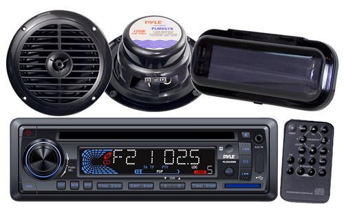"Black Marine Boat USB CD MP3 AUX Radio w/Stereo Cover  2 x 6.5"" Round Speakers"