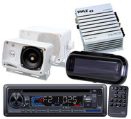 Marine Boat CD USB MP3 Stereo Pyle w/2  Box Speakers + Amplifier & Stereo Cover