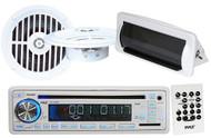 "Pyle PLCD35MR CD MP3 AUX Radio Media Receiver w/Cover White 5.25"" Round Speakers"