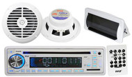 "In Dash Marine Boat CD MP3 USB Radio Receiver w/6.5"" Pair Speakers White w/Cover"